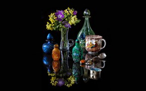 Picture glass, reflection, flowers, silver, mug, vase, black background, still life, picture, a bunch, decanter, amber, …