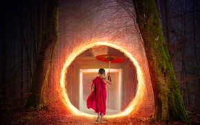 Picture light, umbrella, the portal, Buddhist nuns, autumn forest