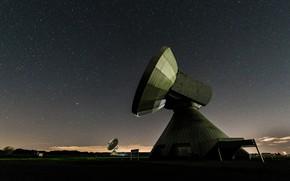Picture field, space, landscape, night, darkness, antenna, hi-tech, starry sky, hi-tech, parabolic antenna, high technology, parabolic
