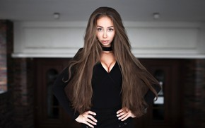 Picture look, pose, model, skirt, portrait, makeup, hairstyle, brown hair, blouse, is, in black, bokeh, Natalia, …