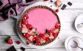 Picture berries, raspberry, chocolate, strawberry, cake, tart