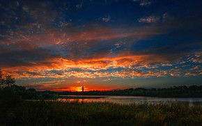 Picture the sky, the sun, clouds, sunset, clouds, river, the reeds, horizon