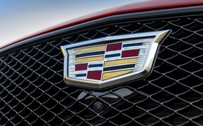 Picture red, Cadillac, emblem, grille, sedan, four-door, 2020, CT5-V