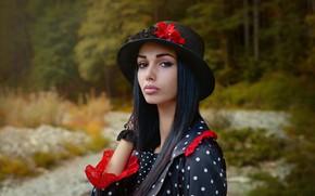 Picture look, girl, portrait, hat, brunette, Katerina