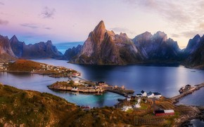 Picture lake, rocks, Norway, Norway, Lofoten, Richard Beresford Harris