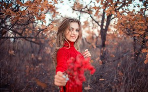 Picture autumn, look, girl, nature, photo, model, garden, beautiful, sweater, Sergey Shatskov