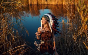 Picture girl, the sun, decoration, nature, pose, river, feathers, dress, reed, outfit, brown hair, beauty, amulet, …