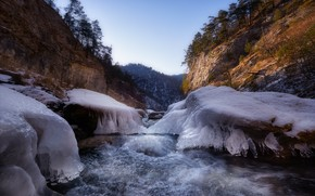 Picture landscape, mountains, nature, river, ice, KCR, Karachay-Cherkessia, Alexey Bagaryakov, Marukhi gorge
