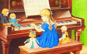 Picture Picture, Child, Girl, Doll, Piano, Jenny Eugenia Nyström, The lesson of piano, Шведская художница, Jenny …