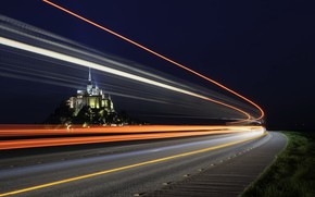 Picture road, night, lights, France, The Mont-Saint-Michel