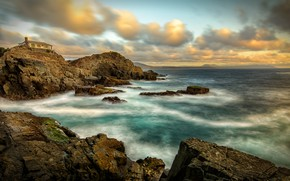 Picture sea, wave, the sky, clouds, house, stones, rocks, shore, coast, surf, rocky, restless