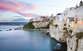 Picture sea, home, the evening, Italy, Apulia, Gargano