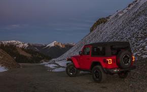Picture snow, red, 2018, Jeep, mountain pass, Wrangler Rubicon