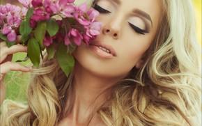 Picture girl, flowers, portrait, makeup, blonde