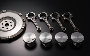 Picture engine, details, spare parts, the piston, rod, the flywheel