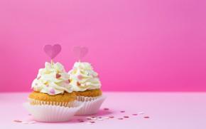 Picture hearts, decoration, cream, cupcakes