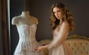 Picture look, girl, dress, corset, dummy, curls, Fia Meos, Damp Zergut