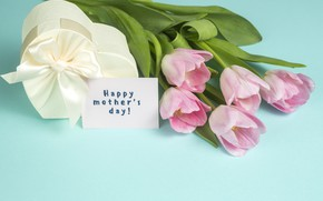 Picture gift, bouquet, tape, tulips, Mother's day