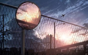 Picture the sky, sunset, the city, the plane, the fence, road mirror