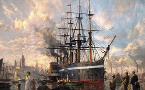 Picture Pier, The city, The game, People, Ship, The ship, Painting, Illustration, Concept Art, Marina, Ship, …
