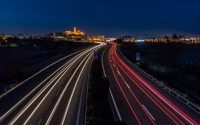 Picture road, night, the city, lights