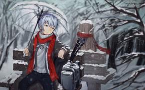 Picture bench, umbrella, girl, guy