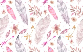 Picture background, texture, feathers, leaves