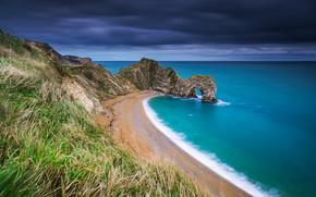 Picture sea, beach, grass, rocks, coast, England, England, The Channel, English Channel, Dorset, Dorset, Jurassic Coast, …