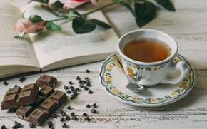 Picture chocolate, roses, bouquet, Cup, book, Chai