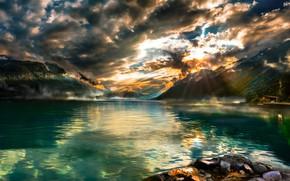 Picture mountains, lake, Switzerland, Lake Brienz