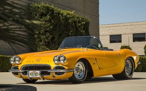 Picture Corvette, Chevrolet, Yellow, Convertible, 1962