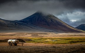Picture field, clouds, mountains, overcast, the slopes, tops, barrel, Iceland