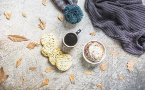 Picture coffee, cookies, Autumn, leaves, coffee, Pastry