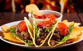 Picture tomatoes, chips, Taco, dish, meat