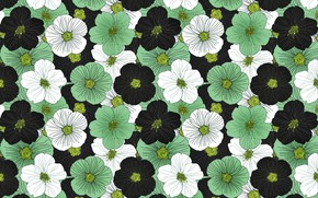 Picture flowers, green, background, vintage