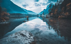 Picture autumn, forest, the sky, clouds, mountains, lake, reflection, stones, shore, the evening, Germany, Bayern, Alps, …