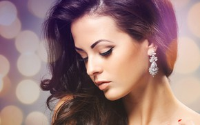 Picture girl, arrows, hair, earrings, makeup