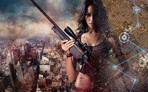 Picture Girl, The city, Map, Face, Skyscrapers, Actress, Tattoo, The film, Zoe Saldana, Rifle, Chain, Zoe …