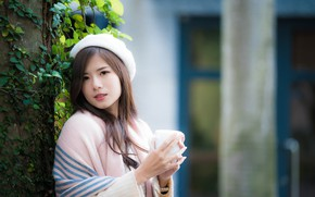 Picture look, model, portrait, makeup, hairstyle, Cup, brown hair, Asian, jacket, takes, bokeh