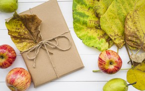 Picture autumn, leaves, background, tree, apples, colorful, wood, background, autumn, leaves, gift, autumn, apples
