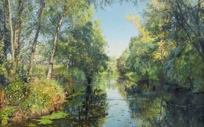 Picture Danish painter, Peter Merk Of Menstad, Peder Mørk Mønsted, 1894, Danish realist painter, Summer river …