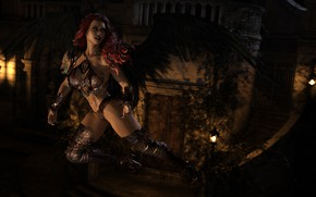 Picture chest, girl, night, rendering, feet, body, wings, red, vampire