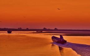 Picture nature, boat, glow, Ukraine, дельта Дуная