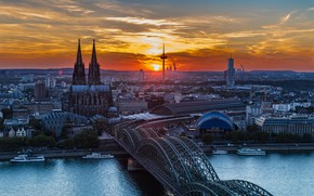 Picture sunset, bridge, river, Germany, Cologne