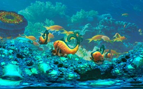 Wallpaper clear water, the bottom of the sea, coral reef, fantasy author, with fractal fishes, Coral ...