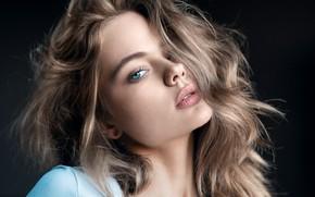 Picture look, girl, face, hair, portrait, the dark background, Anastasia Makarenko, Mikhail Mikhailov