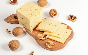 Picture cheese, white background, walnuts