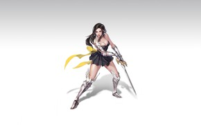 Picture Girl, Art, Style, Illustration, Knight, Minimalism, Sword, Armor, Figure, Character, Pretty Woman, Hye Jeong Hwang