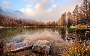 Wallpaper autumn, forest, the sky, grass, water, clouds, landscape, mountains, nature, fog, lake, pond, reflection, stones, ...