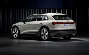 Picture light, grey, background, Audi, side view, E-Tron, 2019